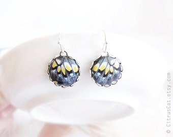 Small butterfly wings - Black and yellow earrings