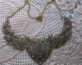 1 Gold Plated Lace Effect Darkening Flower Necklace Base For Crafting