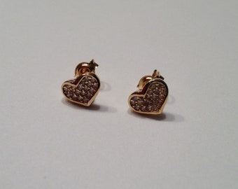 Tiny Gold Crystal Heart Stud Earring, Crystal Heart Studs