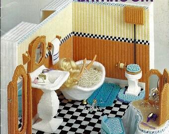 Fashion Doll Bathroom in Plastic Canvas for Barbie American School of Needlework 3089