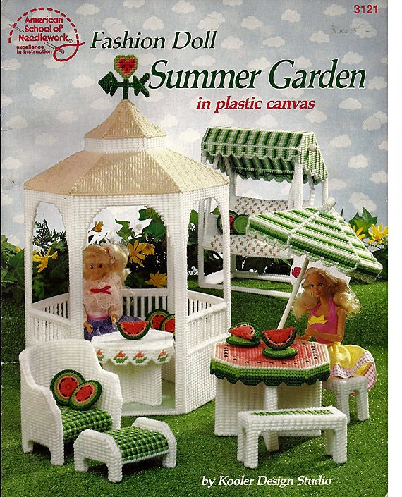 Fashion Doll Summer Garden in Plastic Canvas Pattern 3121 American School of Needlework