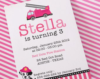 DIY PRINTABLE Invitation Card - Pink Dalmatian Firefighter Birthday Party  - PS814CA2a1