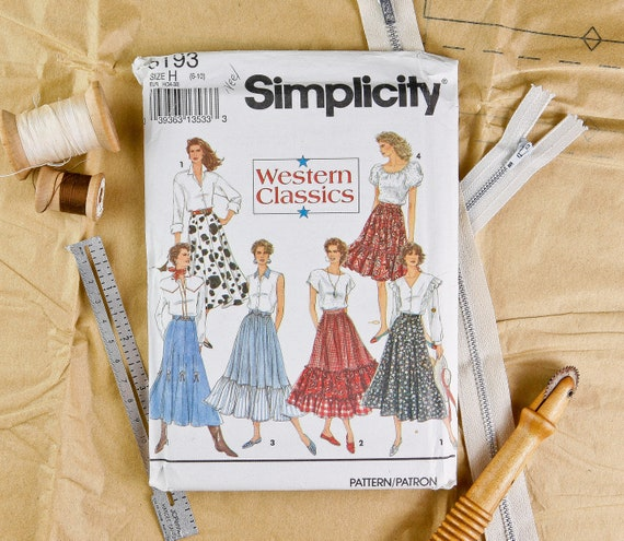 Misses Size 6, 8, 10, Tiered Ruffled Western Skirt, Simplicity (8193) Vintage 1990s Sewing Pattern