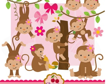 Cute girl monkeys digital clipart set for-Personal and Commercial Use-paper crafts,card making,scrapbooking,web design