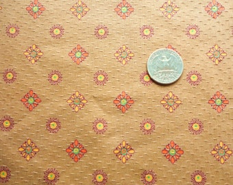 light brown floral print vintage cotton fabric -- 36 wide by 2 yards