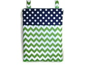 Green chevron Eco friendly Navy blue polka dot Wet bag Kitchen unpaper towel waterproof hanging cloth diaper baby nursery
