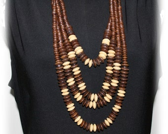 Multi Strand Wooden Bead Necklace, Wood Bead Tribal,