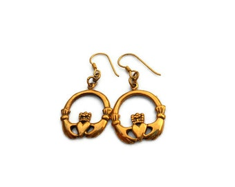 Vintage Bronze Claddagh Earrings
