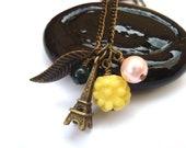 SALE Paris Eiffel Tower Necklace. Leaf Charm Necklace. Petite Flower Necklace. Flower Jewelry. Charm necklace.  Everyday Jewelry