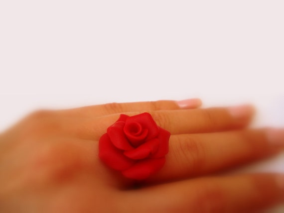 Red Rose Ring . Red Flower Ring. Polymer Clay Handcrafted Ring. Red Jewelry. Flower Jewelry. Adjustable Size