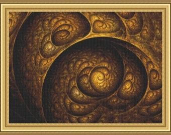 Fractal Cross Stitch Pattern Golden Swirls Patterns Instant Download pdf Cross Stitch Design