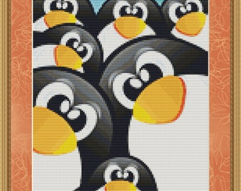 Cross Stitch Pattern Penguins Cute Happy Instant Download PdF