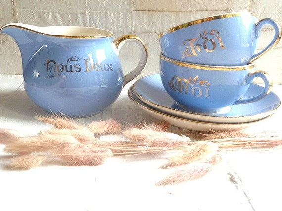 """Vintage french """" YOU & ME """" Tea set , coffee set and jug , Villeroy and Boch. Housewares. Wedding gift . Cottage"""