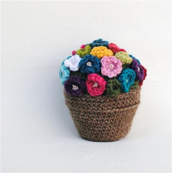 Crochet Flower In Pot Pattern : Crochet Flower Pot Wool Dorm Room Decor Get Well Table