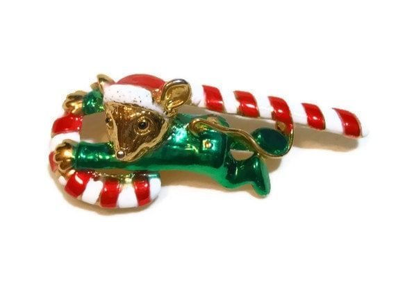 AJC signed mouse on a candy cane Christmas brooch animal