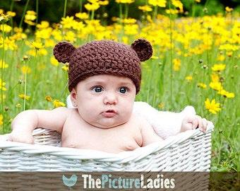 Teddy Bear Baby Hat, Handmade Newborn Beanie