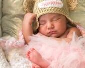 Pink Sock Monkey Hat Baby Hat, Toddler Hat, Newborn Hat, Flower Hat, Baby Beanie, Toddler Beanie, Newborn Beanie, Crochet Monkey Hat