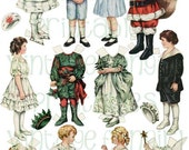 Vintage Christmas Old Fashioned Betty Bonnet Paper Dolls from 1917 Digital Download for Altered Art, Kids Crafts, and Collage
