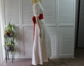 Vintage White Lace 1960s Wedding Dress with Red Satin Sash Size Medium/10