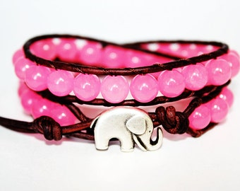 Beaded Wrap Bracelet - Elephant Bracelet - Neon Pink - Boho Bracelet Wrap - Elephant Jewelry - Brown Leather