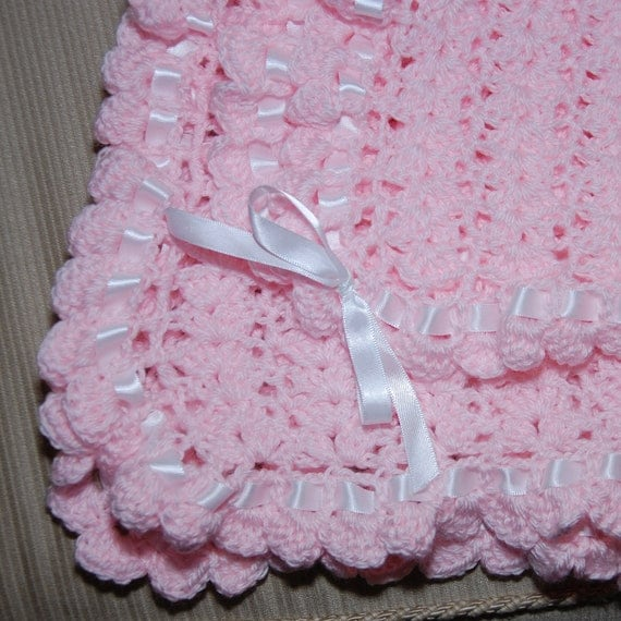 Items similar to Cozy Crocheted Baby Blanket with ribbon ...