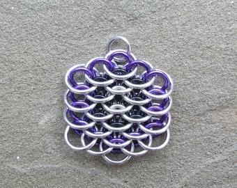 Chain Mail Pendant, Dragonscale Pendant,  Purple Black and Silver, Multicolor Necklace, Chain Maille