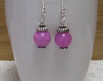 Purplelicious Jade Earrings - Purple Earrings, Gemstone Earrings, Dangle Earrings, Beaded Earrings
