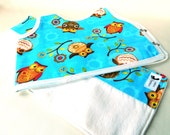 Owl Theme Baby Shower Gift Set Bib and Burp Cloth Gender Neutral