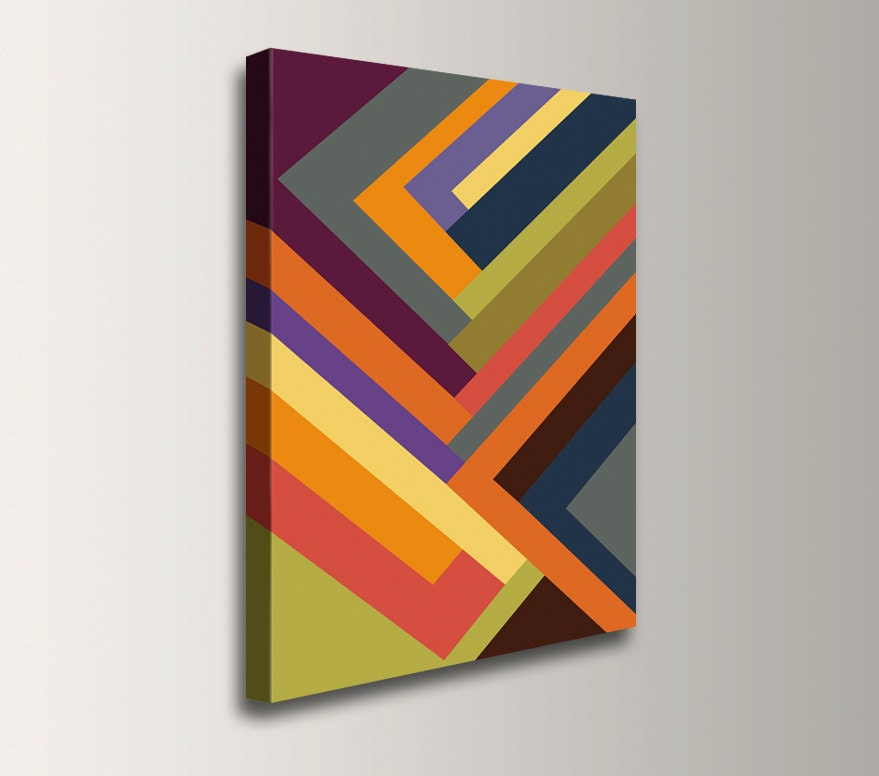 Modern Art Line Painting : Multi colored geometric art print line canvas