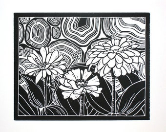 Original linocut print, Zinnias by the Woodpile, open edition, black ink