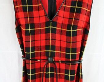 TEN DOLLAR DRESS 60s Dress / Jumper / Wool / Plaid / Tassel Belt / Red / Tartan