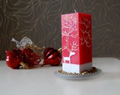 Christmas Pillar Candle Rectangle Handpainted White Moose on Red or Green Handmade Christmas Gift Christmas Decor For The Home
