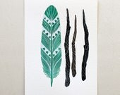 Feather and Twigs Watercolor Nature Art - Archival Print 8x10