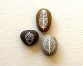 Painted Stone Set - Autumn Stones - Original Art - Three Hand-painted Pebbles