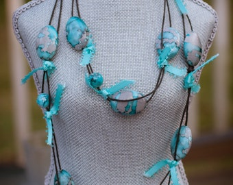 Marbled Shades of Gray & Turquoise With Ribbon on Paper Cord Necklace - FREE SHIPPING