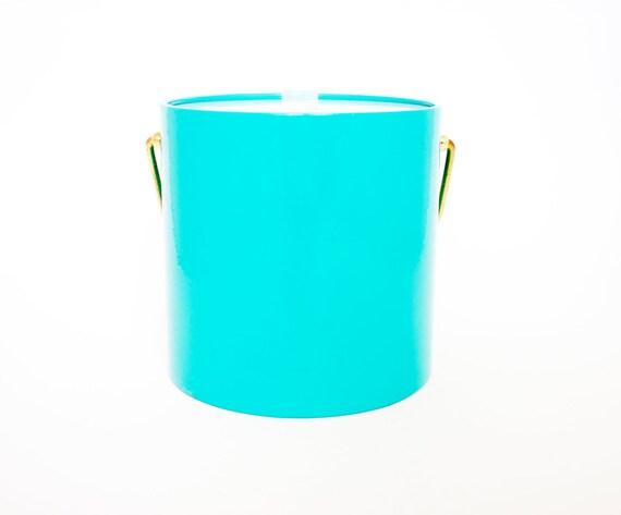 Vintage Ice Bucket Retro / Aqua Blue Ice Bucket / Mad Men Style / Free Shipping