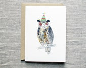 Owl Birthday Card. Owl Greeting Card. Owl with Party Hat Card. Owl Card. Simple Nature Birthday Card. Blank Nature Card. Bird Lover Card.