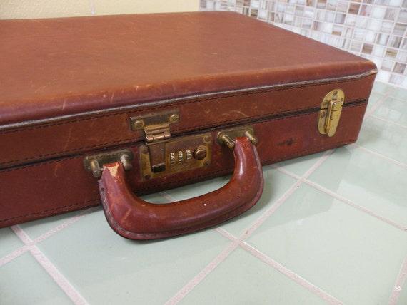 Vintage Schlesinger Leather Briefcase Combination Lock // Luggage Portfolio Mad Men Office
