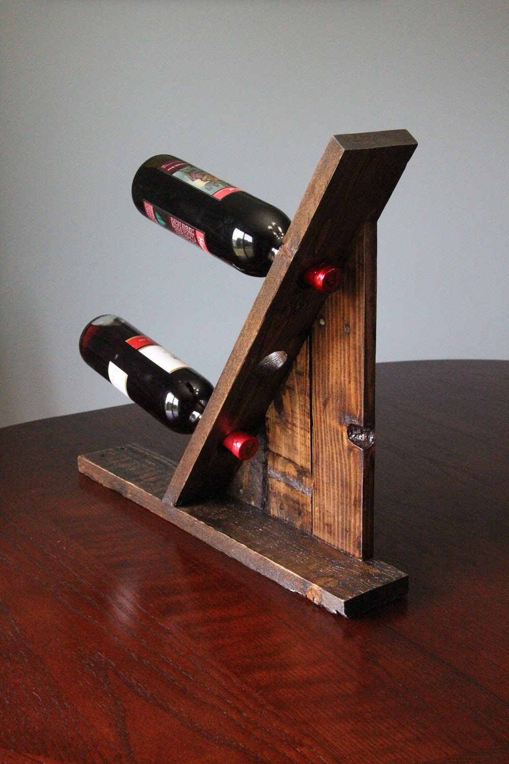 Table Top Reclaimed Pallet Wood Furniture Wine Rack