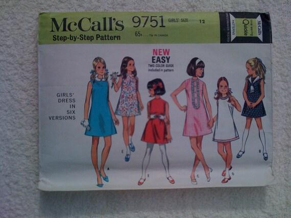 McCalls Sewing Pattern 9751 Girls Dresses Vintage 60s Size 12