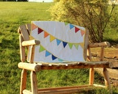 Bunting Quilt Baby Girl or Baby Boy Bright Red Orange Yellow Green Blue Aqua