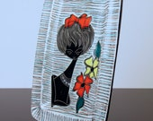 Vallauris Girl Flowers Wall Plaque France Studio Pottery 1950s 60s Kitsch Art Mid Century Modern Eames Picasso Capron Retro Vintage Plate