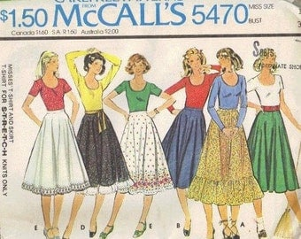 McCall's 70s Sewing Pattern Twirl Dance Skirt Full Ruffle Hem Long Short Sleeve Peasant Blouse Tablecloth Skirt Uncut FF Bust 34