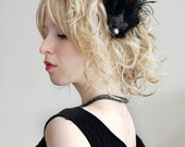 1920s Black Pearl Hair Clip, Flapper, Great Gatsby feather hair clip