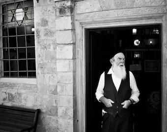 Photograph print of Rabbi in Tzfat, Israel, Judaism,  Jerusalem,  black and white fine art home decor (Photography)