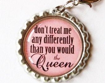 Funny zipper pull, backpack zipper pull, zipper pull, purse charm, bag charm, bottle cap, backpack charm, Humor, queen, pink