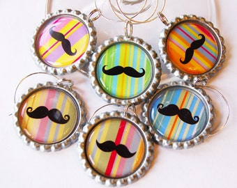 Wine Charms, Moustache wine charm, Bottlecap, Moustache, wine glass charms, rainbow of colors, bright colors, party supplies