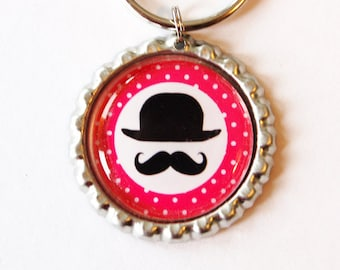 Moustache key ring, key ring, key chain, bottle cap, Moustache, bowler, mustache, stocking stuffer, pink (1881)