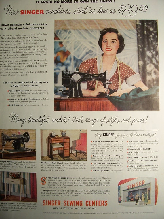 1950 SINGER SEWING CENTER Original Vintage Magazine Advertisement For Singer Sewing Machines Sewing Room Decor Ready To Frame
