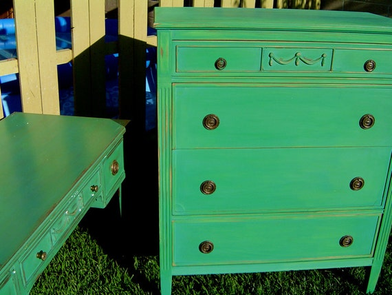 VINTAGE FRENCH DRESSER - Painted A Rich Jade Green With Turquoise and Copper Distressed